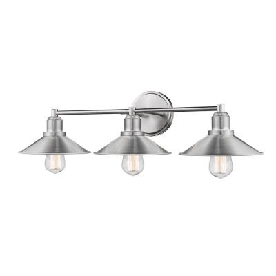 Cortez 3-Light Brushed Nickel Bath Light with Brushed Nickel Steel Shade