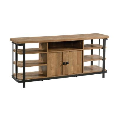 Station House 59.843 in. Etched Oak Entertainment Credenza with 2-Doors Fits 65 in. TV