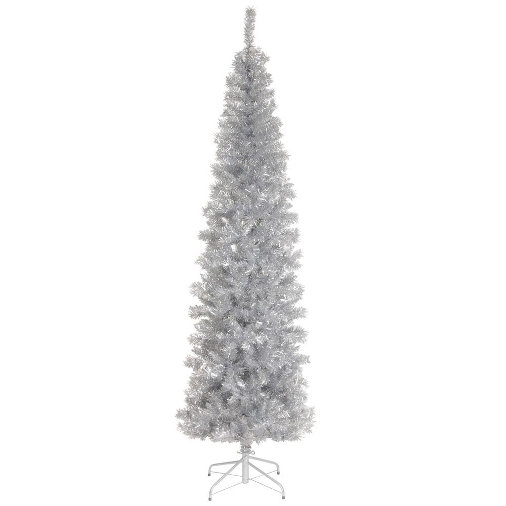 silver tinsel artificial christmas tree - Home Depot White Christmas Tree