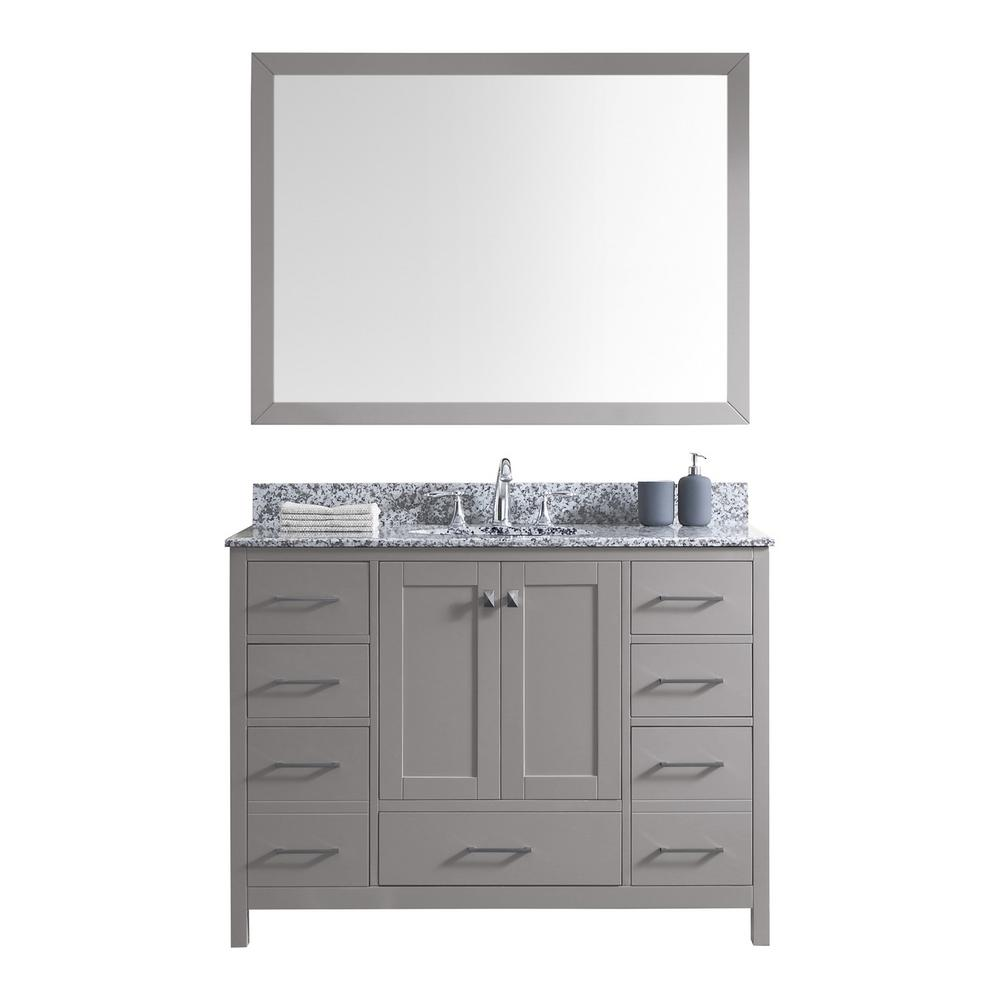 Virtu USA Caroline Madison 49 in. W Bath Vanity in C. Gray with Granite Vanity Top in Arctic White with Rnd. Basin and Mirror