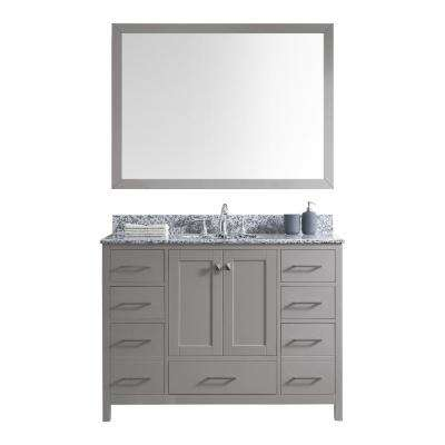 Caroline Madison 49 in. W Bath Vanity in C. Gray with Granite Vanity Top in Arctic White with Rnd. Basin and Mirror