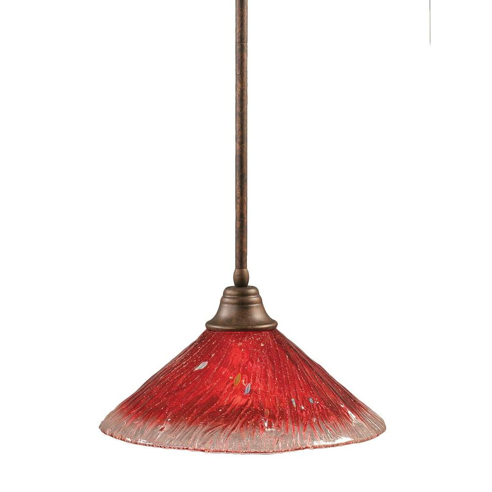 Filament Design Concord 1-Light Bronze Pendant with Raspberry Crystal Glass
