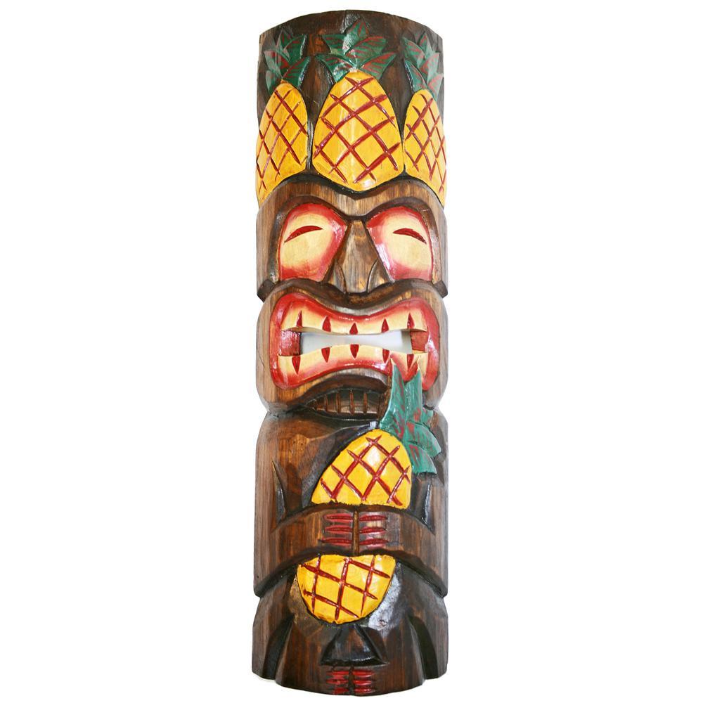 20 in. Tiki Mask Pineapple King Wood Yard Decoration