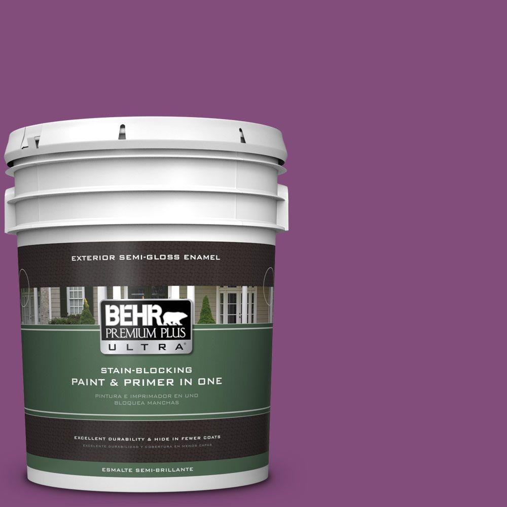 BEHR Premium Plus Ultra 5-gal. #T15-12 Graphic Grape Semi-Gloss Enamel Exterior Paint