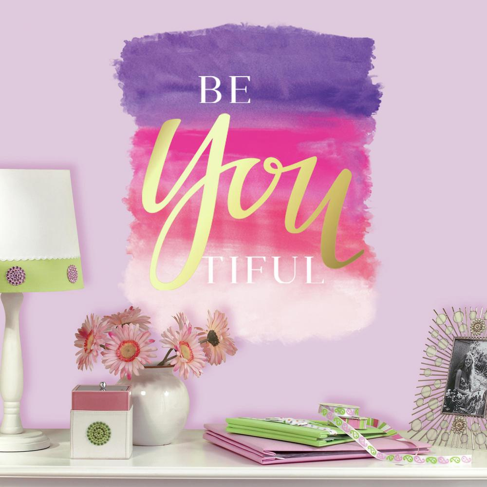 5 in. x 19 in. Beyoutiful Quote 1-Piece Peel and Stick