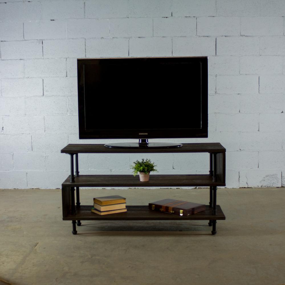 furniture pipeline tucson modern industrial black 48 in wide tv stand living rec room office. Black Bedroom Furniture Sets. Home Design Ideas