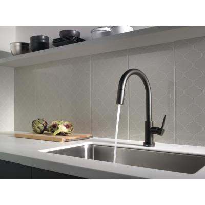 Trinsic Single-Handle Pull-Down Sprayer Kitchen Faucet with Touch2O Technology in Matte Black