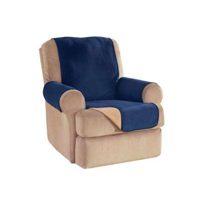 Navy Reversible Waterproof Fleece Recliner/Wing Furniture Protector
