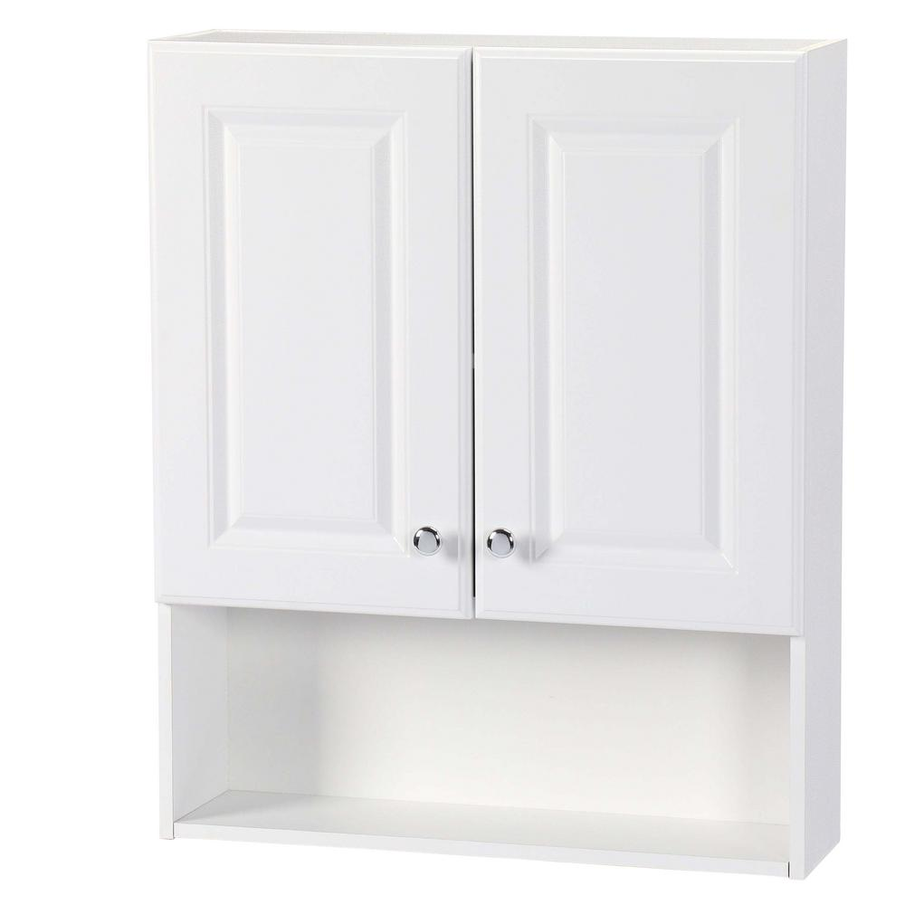 Glacier Bay 23 In W X 28 In H X 6 1 2 In D Bathroom Storage Wall Cabinet With Shelf In White
