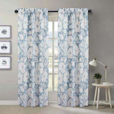 Chambray Blue and White Floral Window Pair Panels - 84 in. L x 40 in. W