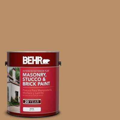 1 gal. #S260-5 Almond Roca Flat Interior/Exterior Masonry, Stucco and Brick Paint
