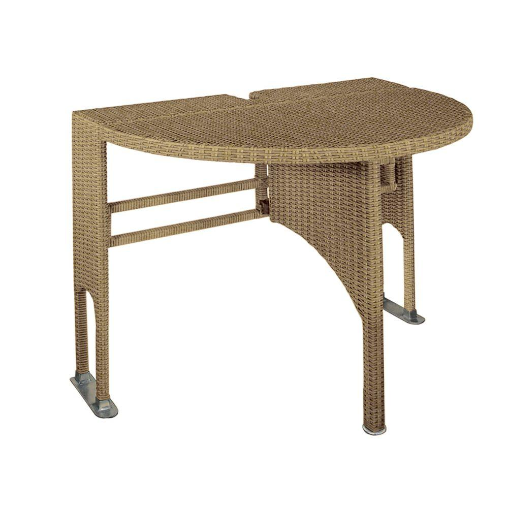 Blue Star Group Genevieve Coffee Half Oval Gate Leg Patio Terrace Mates Table