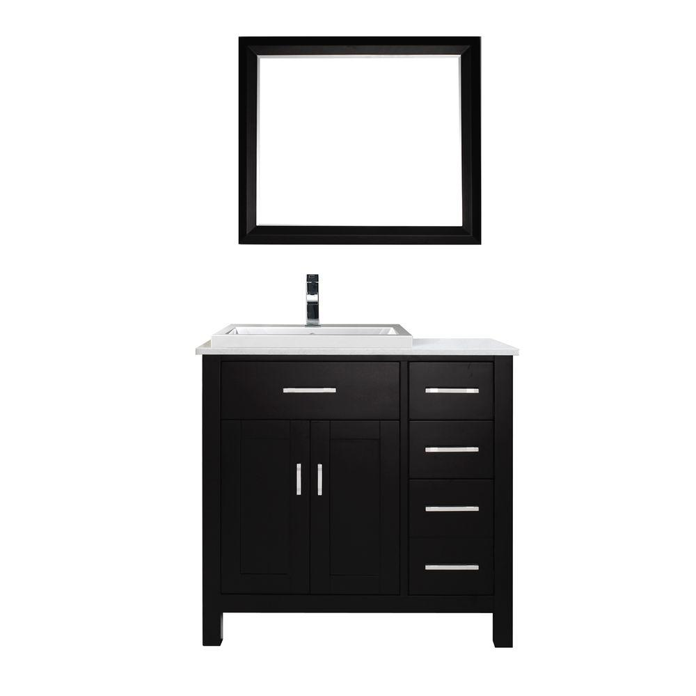 Studio Bathe Kelly 36 in. Vanity in Espresso with Solid Surface Marble Vanity Top in Carrara White and Mirror