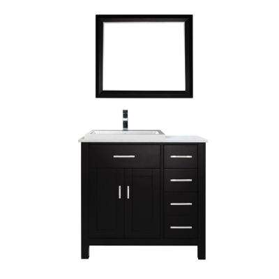 Kelly 36 in. Vanity in Espresso with Solid Surface Marble Vanity Top in Carrara White and Mirror
