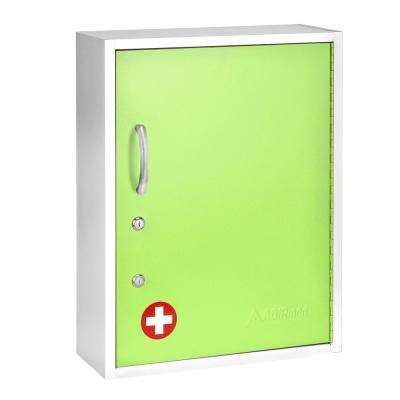 21 in. H x 16 in. W Dual Lock Surface-Mount Medical Security Cabinet in Green with Pull-Out Shelf and Document Pocket