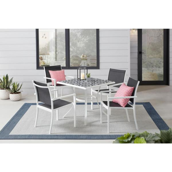 Stylewell Marivaux Black And White 5 Piece Steel Outdoor Patio Dining Set With Tile Top Table And Black Sling Chairs 2166sb The Home Depot