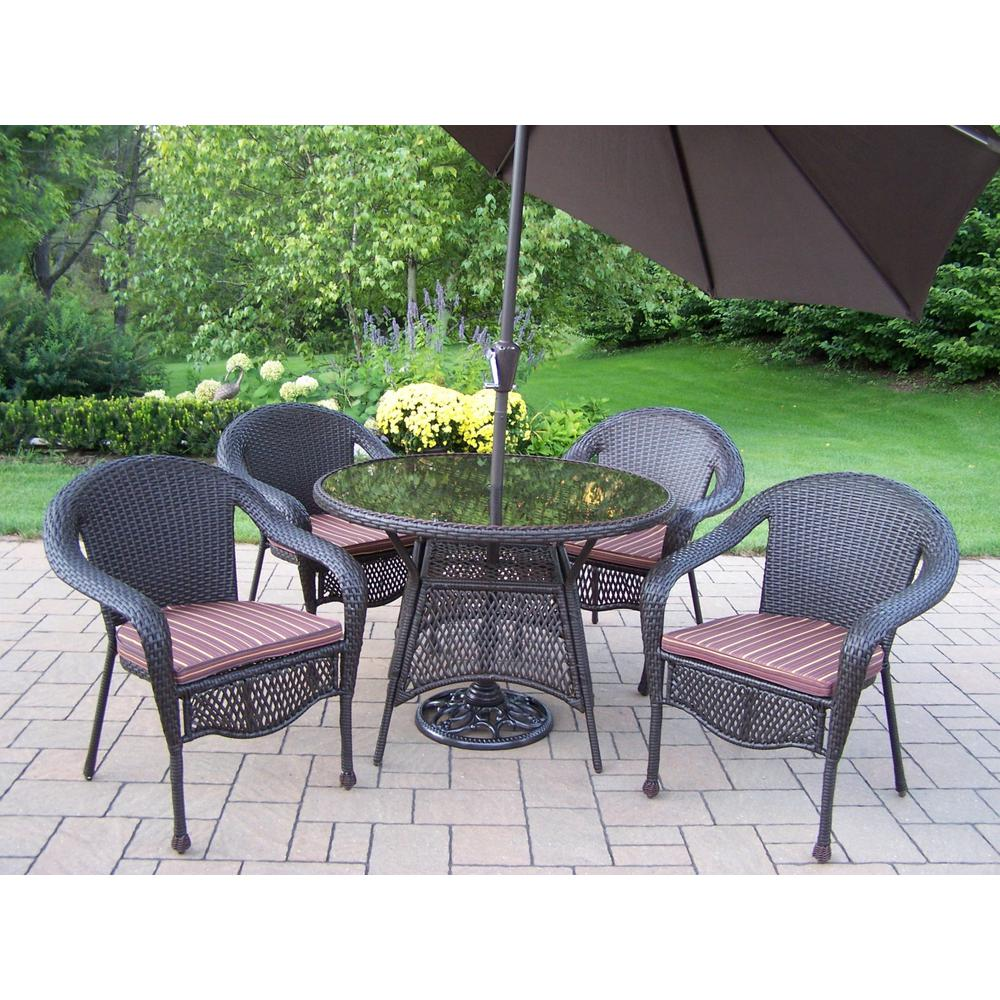 7-Piece Wicker Outdoor Dining Set with Brown Strip Cushions and Brown