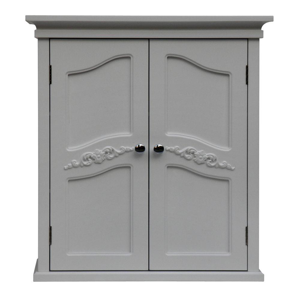 Elegant Home Fashions Venice 22 in. W x 24 in. H x 8 in. D Bathroom Storage Wall Cabinet in White