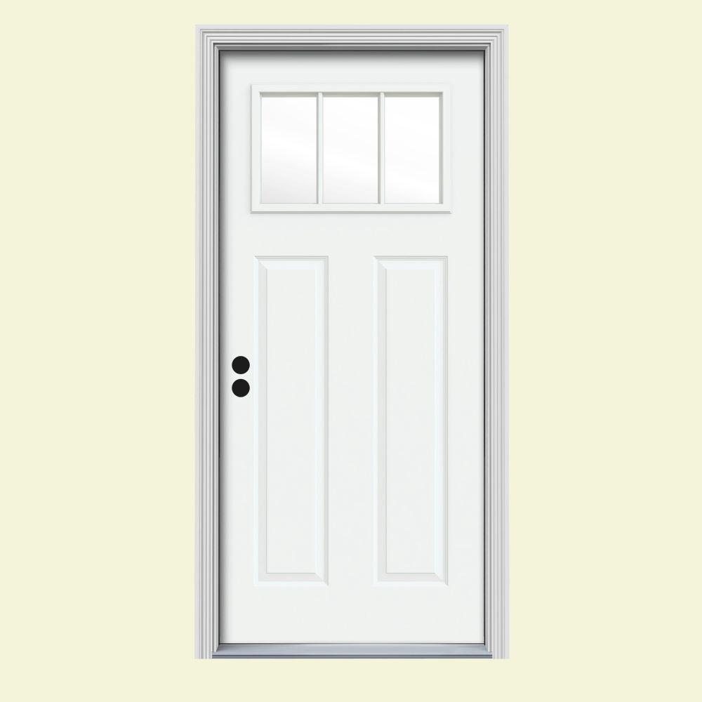 JELD-WEN 32 in. x 80 in. 3 Lite Craftsman White Painted Steel Prehung Right-Hand Inswing Front Door w/Brickmould