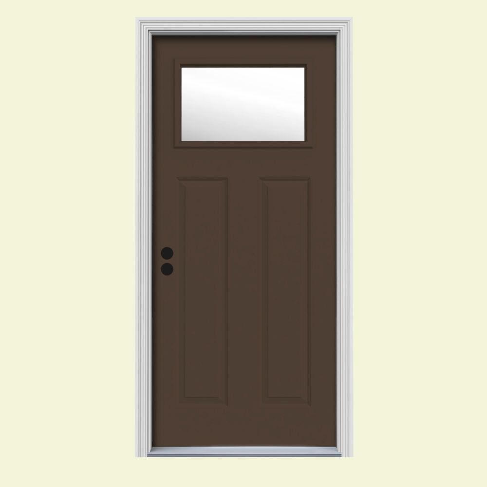 Jeld wen 30 in x 80 in 1 lite craftsman dark chocolate for Jeld wen front entry doors