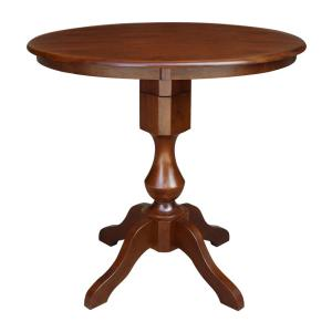 36 in. Espresso Solid Wood Round Sophia Gathering Pedestal Table