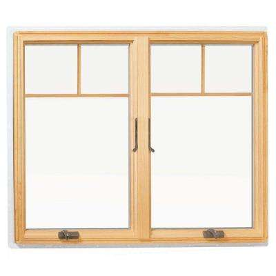 48 in. x 48 in. 400 Series Casement Wood Window - with White Exterior and Fractional Grilles