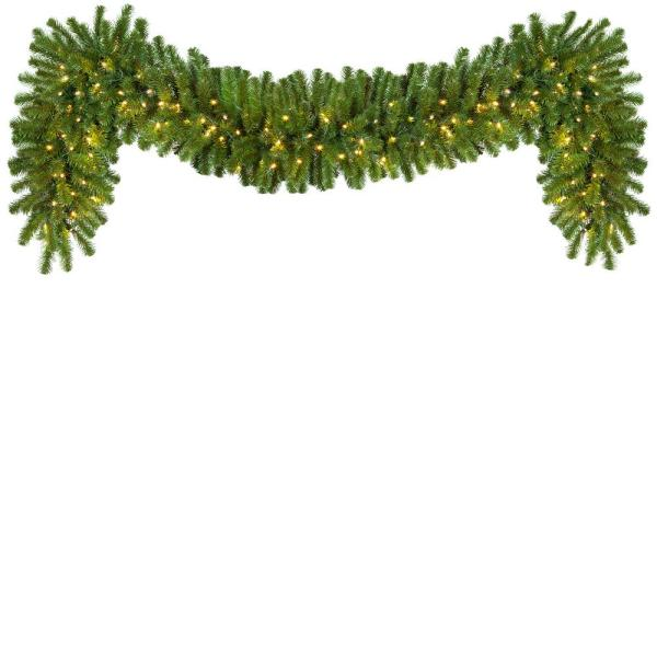 9 ft. Pre-Lit LED Artificial Sequoia Fir Commercial Christmas Garland with 100 Lights, 18 in. W