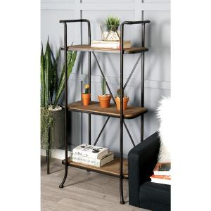 Natural Brown 3 Tier Shelf With Distressed Charcoal Iron Frame