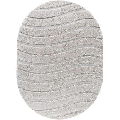 Berkshire Shag Cream 5 ft. 3 in. x 7 ft. 3 in. Oval Area Rug
