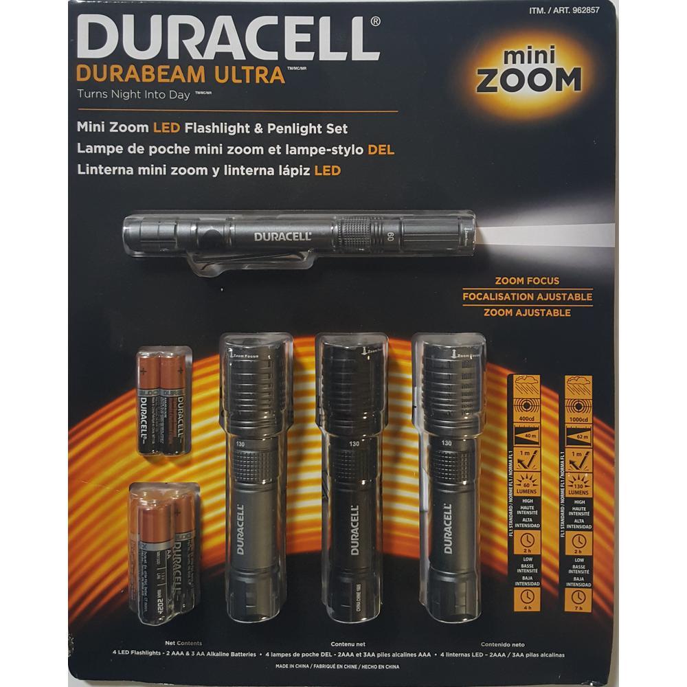 Durabeam Ultra LED Flashlight and Penlight Set (4-Pack)