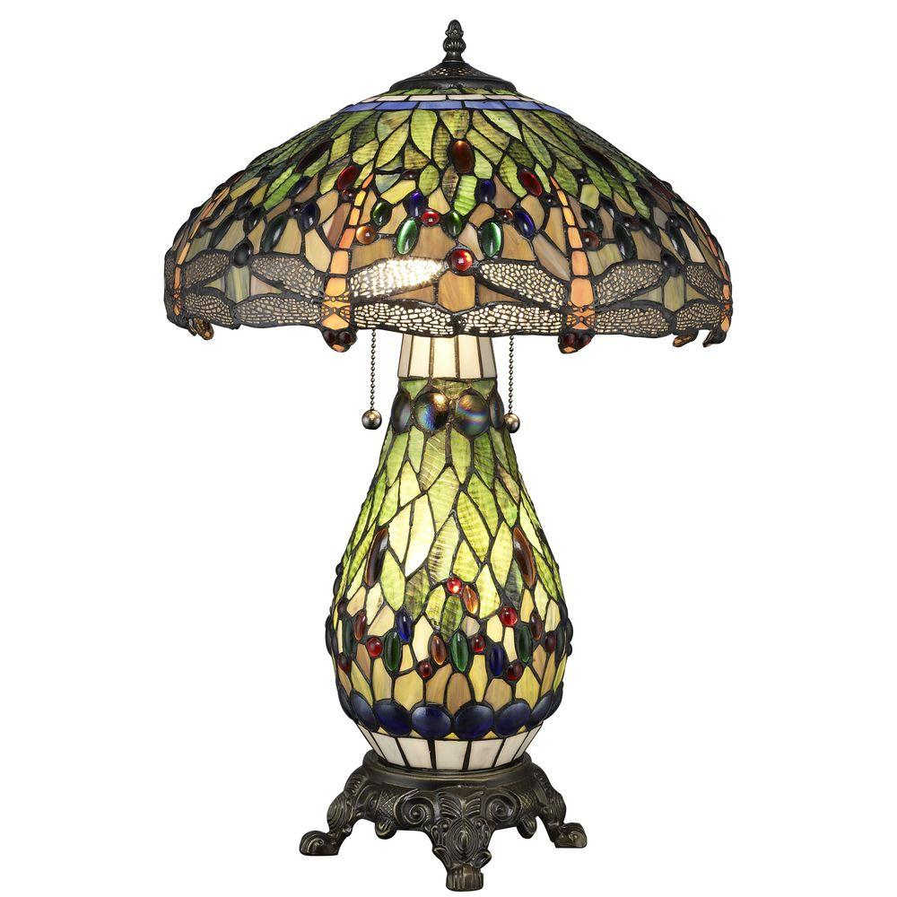Serena D'italia Tiffany Dragonfly 25 in. Bronze Table Lamp with Lit Base
