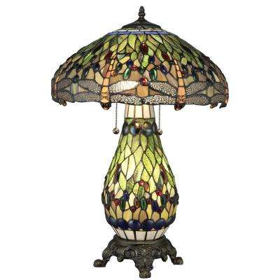 Tiffany Dragonfly 25 in. Bronze Table Lamp with Lit Base
