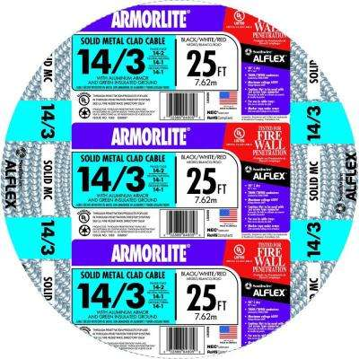 14/3 x 25 ft. Solid CU MC (Metal Clad) Armorlite Cable