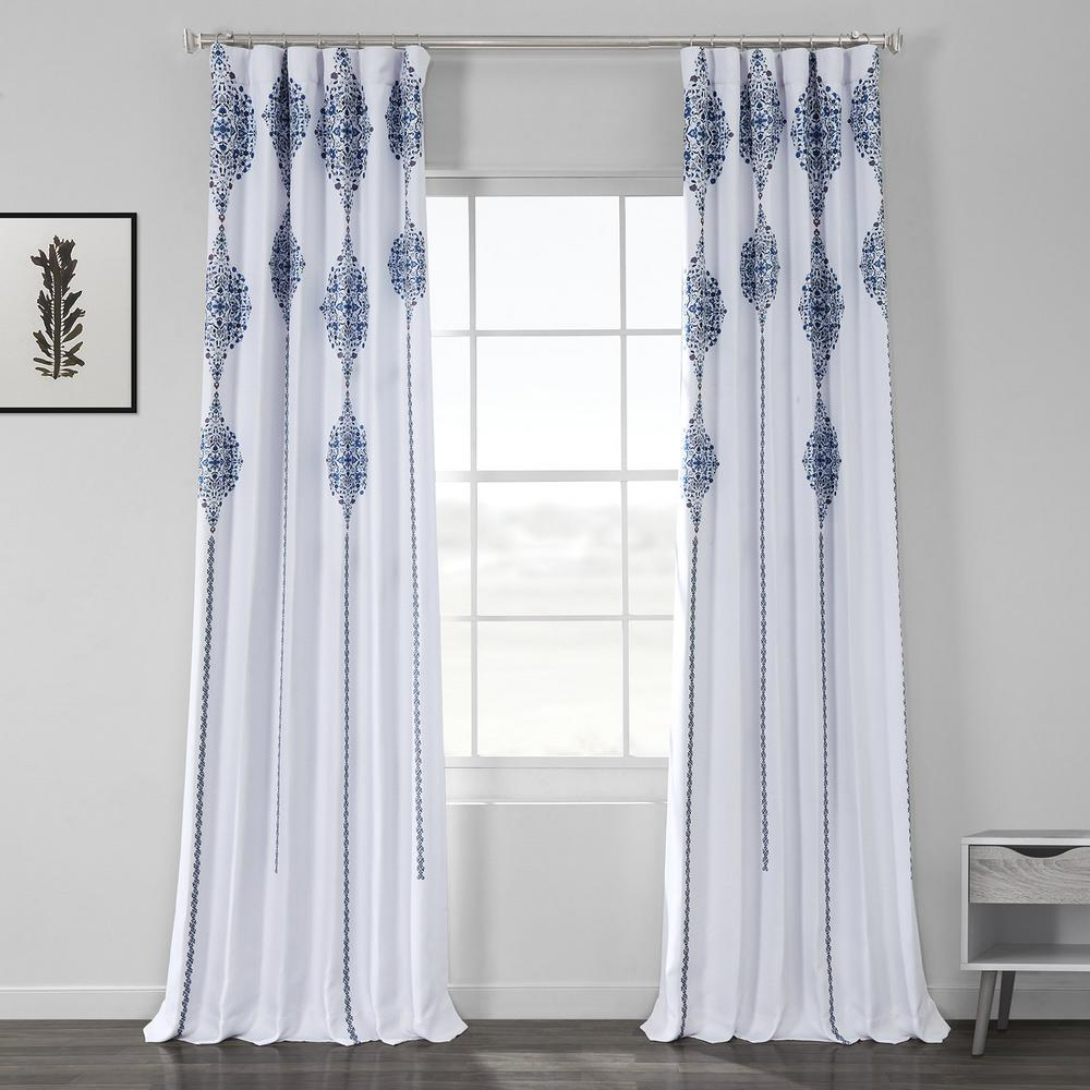 Exclusive Fabrics & Furnishings Karachi Navy Blue Printed Linen Textured Blackout Curtain - 50 in. W x 84 in. L (1-Panel)