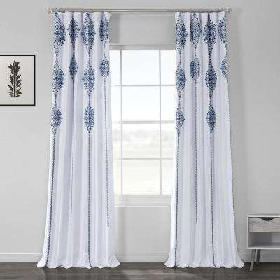 Karachi Navy Blue Printed Linen Textured Blackout Curtain - 50 in. W x 96 in. L (1-Panel)