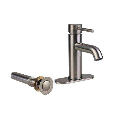 Contemporary 4 in. Centerset 1-Handle Bathroom Faucet with Drain in Brushed Nickel