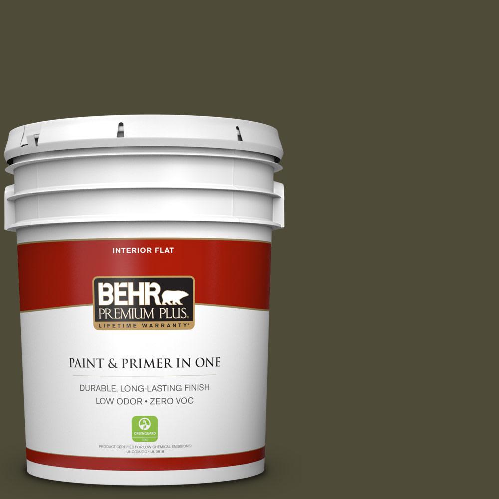 5 gal. #S-H-760 Olive Leaf Zero VOC Flat Interior Paint