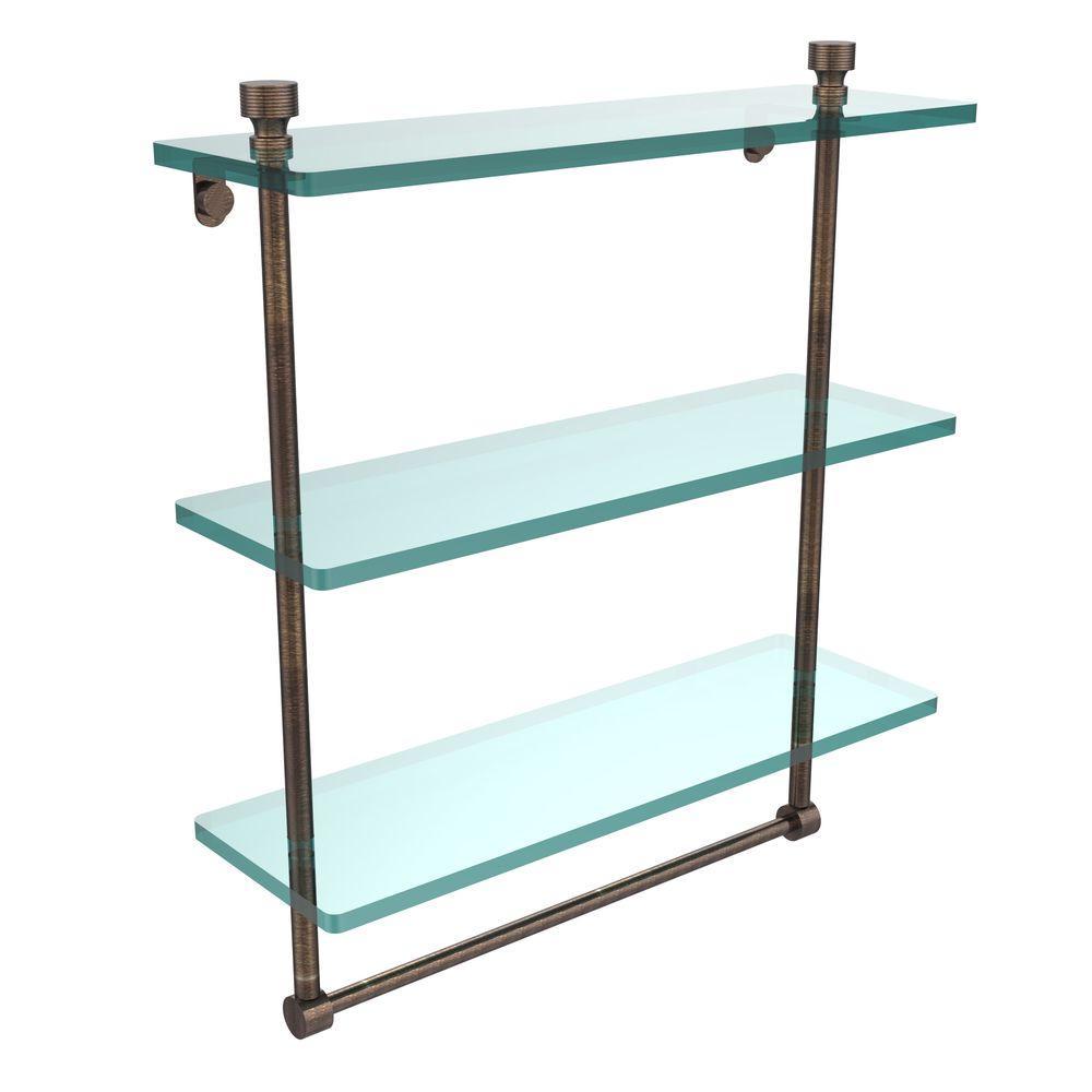 Foxtrot 16 in. L  x 18 in. H  x 5 in. W 3-Tier Clear Glass Bathroom Shelf with Towel Bar in Venetian Bronze