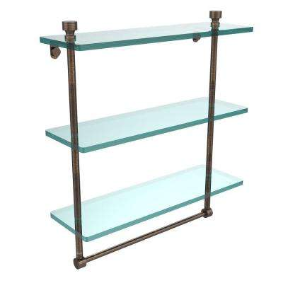 Foxtrot 16 in. L  x 18 in. H  x 5 in. W 3-Tier Clear Glass Bathroom Shelf with Towel Bar in Venetian Bronze