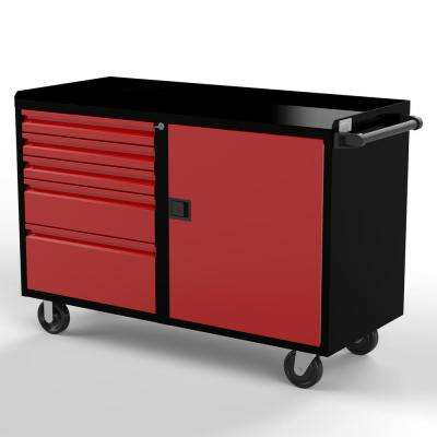 36 in. H x 48 in. W x 21 in D 1-Door 5-Drawers Work Bench Cabinet in Black/Red