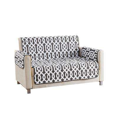 Ashmont Water Resistant Grey Fit Polyester Fit Loveseat Slip Cover