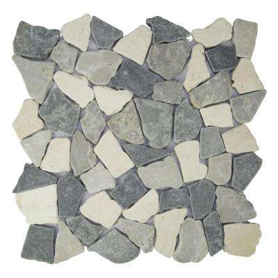 Fit Tile White, Sterling, Grey 11.375 in. x 11.375 in. x 9.5mm Mesh-Mounted Marble Mosaic Tile (9.955 sq. ft. / case)