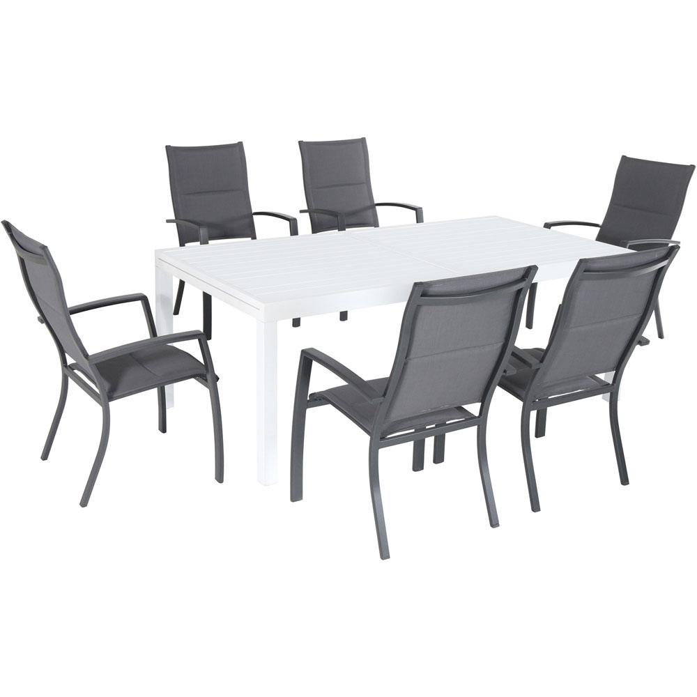 Hanover Del Mar 7 Piece Aluminum Outdoor Dining Set With 6