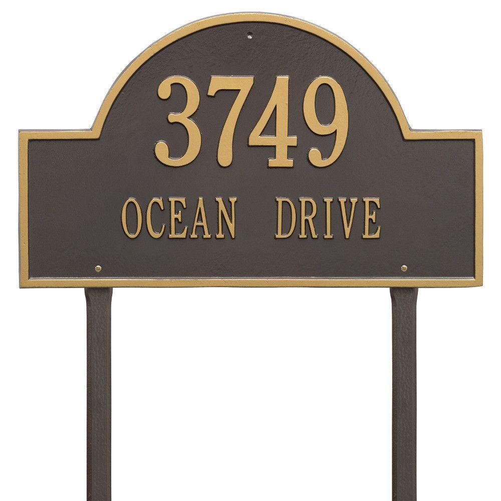 Arch Marker Estate Antique Copper Lawn 2-Line Address Plaque