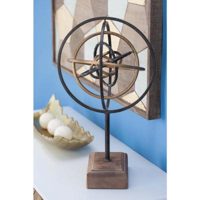 19 in. Atom Model Decorative Sculpture in Black, Brown and Gold