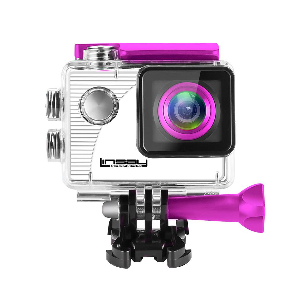 LINSAY Funny Kids Pink Action Camera Sport Outdoor Activities HD Video and Photos Micro SD Card Slot up to 32GB