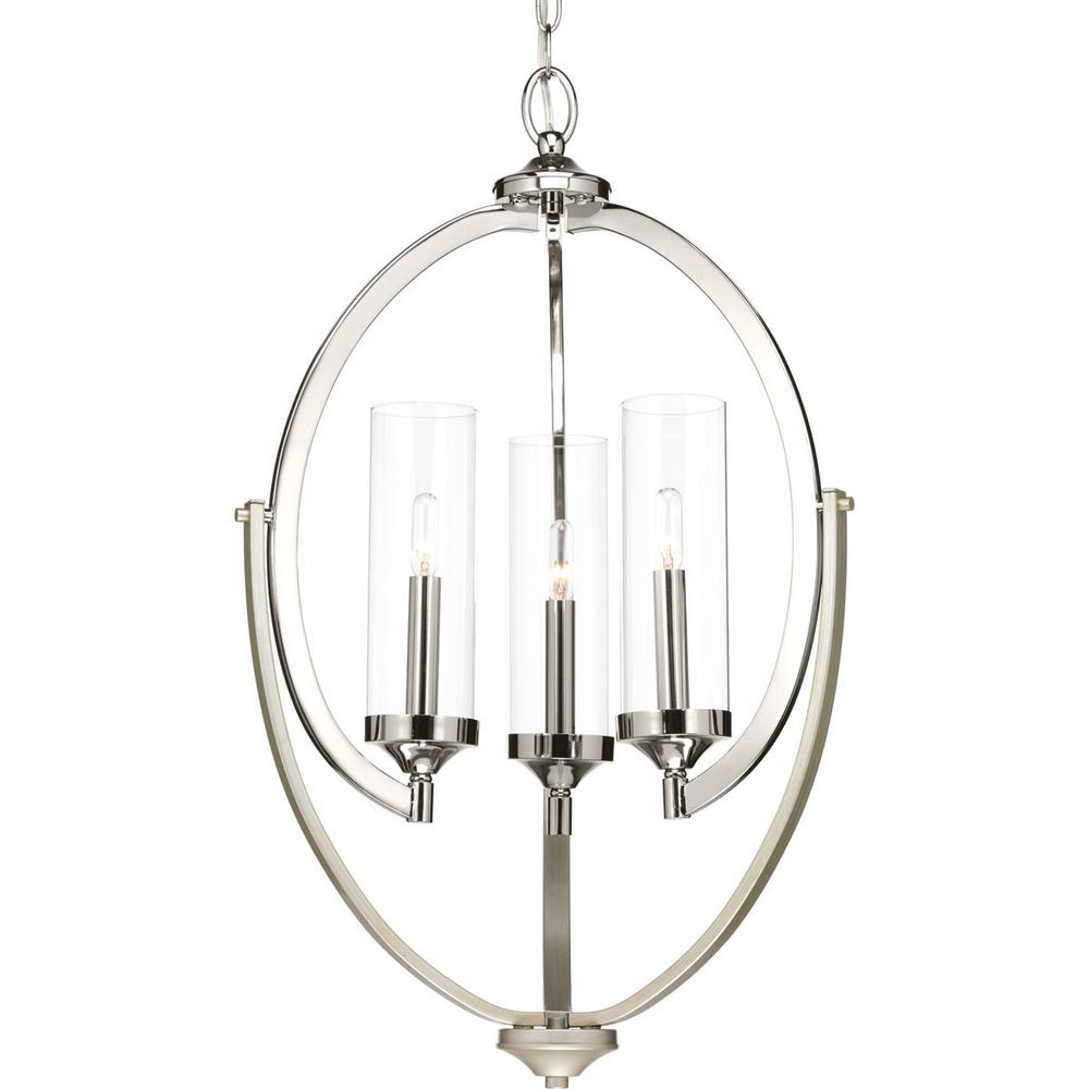 Progress Lighting Evoke Collection 3-light Polished Nickel Chandelier with Clear Glass Shade