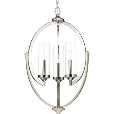 Evoke Collection 3-light Polished Nickel Chandelier with Clear Glass Shade