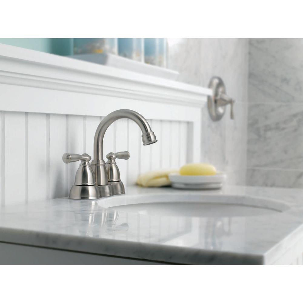 Banbury 4 in. Centerset 2-Handle High-Arc Bathroom Faucet in Spot Resist Brushed Nickel