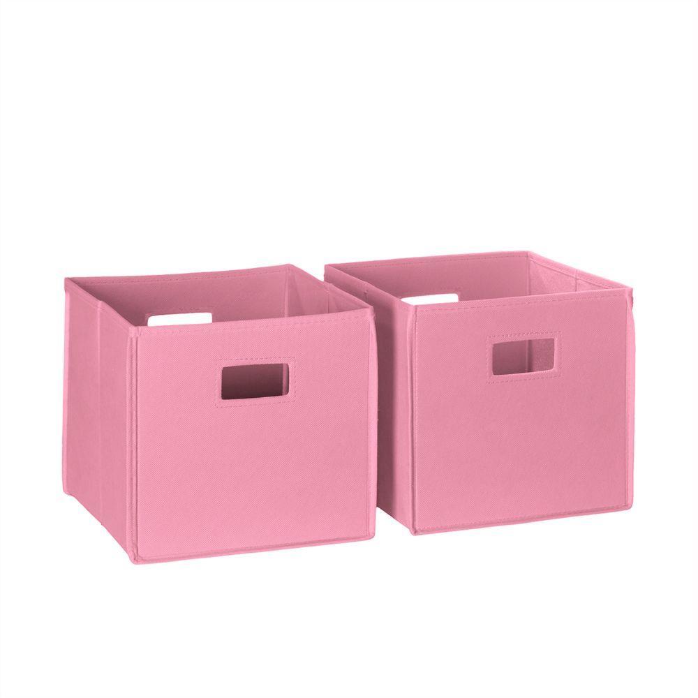 10.5 in. x 10.5 in. Folding Storage Bin Set in Pink (2-Piece)